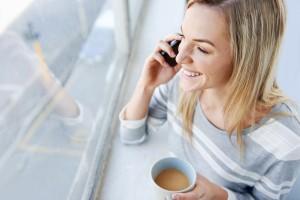 woman coffee phone